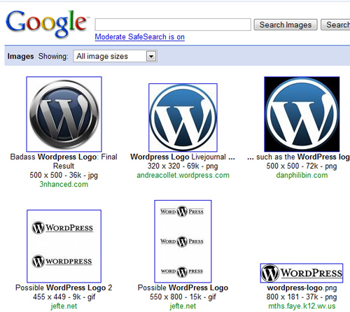 wordpress google images search find