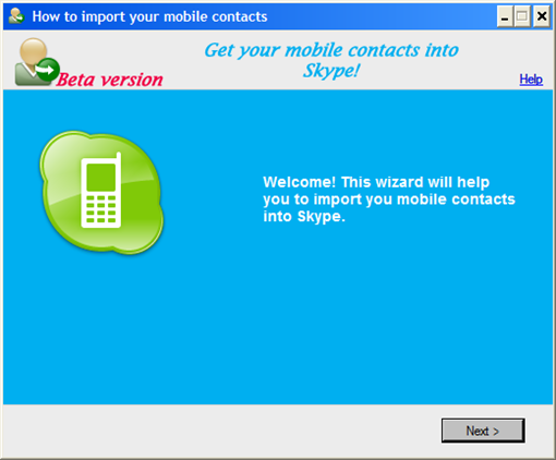 Wizard_1_WelcomeHow to import mobile contacts into Skype!