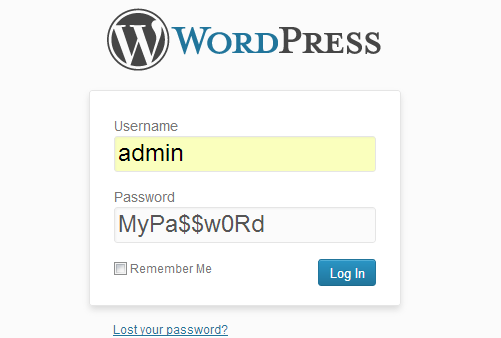 wordpress password admin area